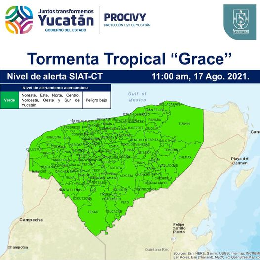 Grace tocaría tierra como huracán categoría uno el jueves en Tulum