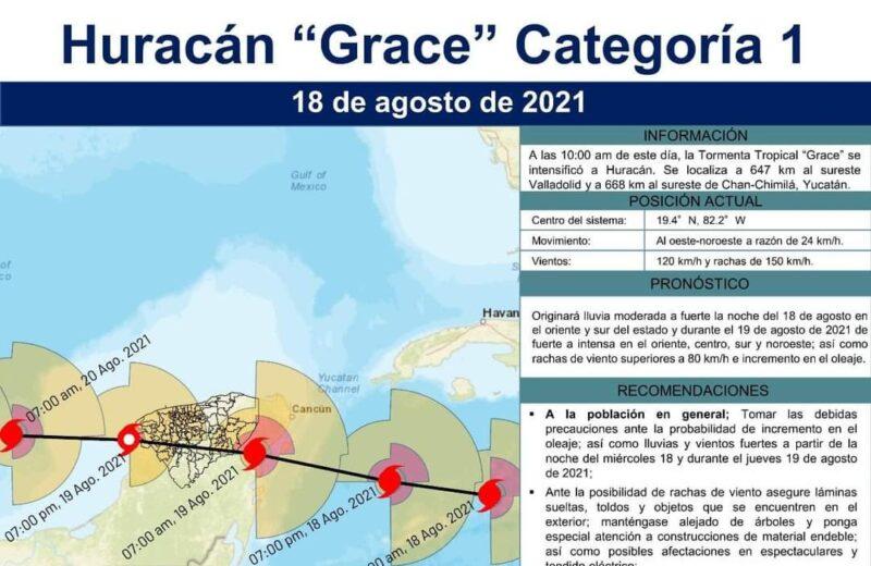 «Grace» entrará por Tulum en la madrugada de este jueves 19 de agosto