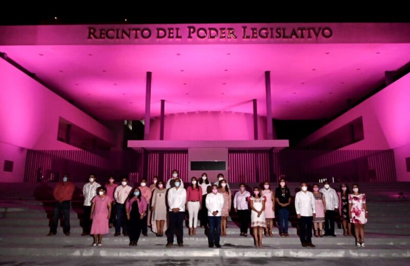 Iluminan de rosa el Congreso del Estado